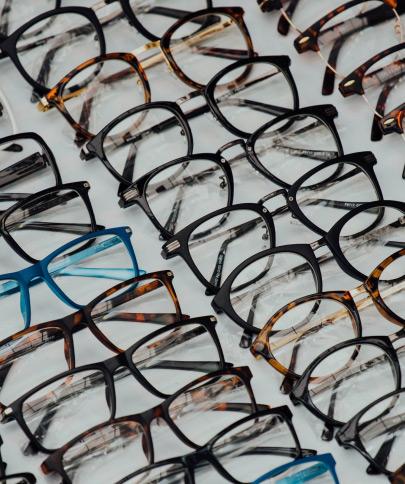 Columns of glasses.